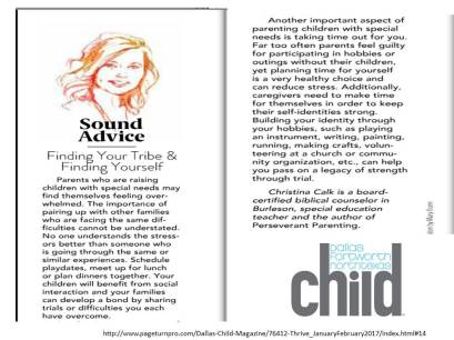 Thrive Magazine Article by Christina Calk 2017   DFW CHILD           DFW Child THRIVE Magazine